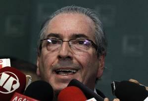 O presidente da Câmara, Eduardo Cunha, durante entrevista coletiva Foto: Givaldo Barbosa / Agência O Globo