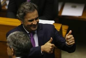 O senador Aécio Neves (PSDB-MG) Foto: Michel Filho / Agência O Globo