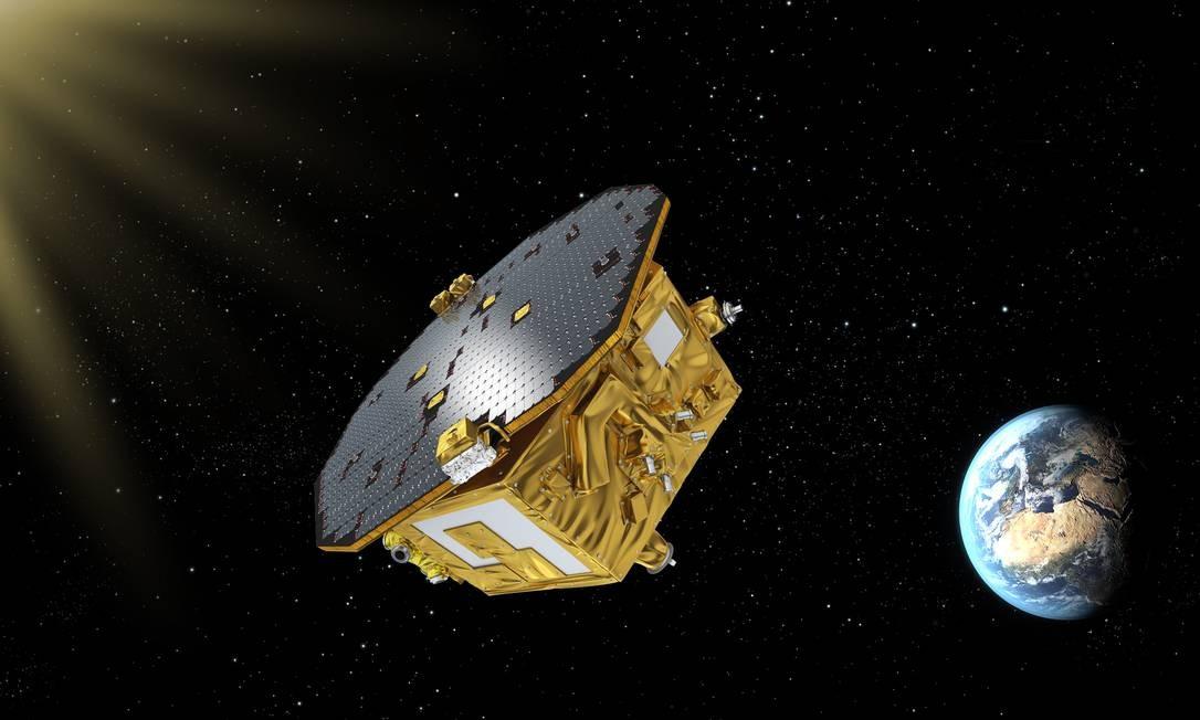 Ilustração mostra o satélite LISA Pathfinder a caminho de sua órbita no ponto Lagrange 1, a cerca de 1,5 milhão de km da Terra em direção ao Sol: experimento de queda livre para teste de tecnologias de detecção de ondas gravitacionais Foto: ESA/C.Carreau