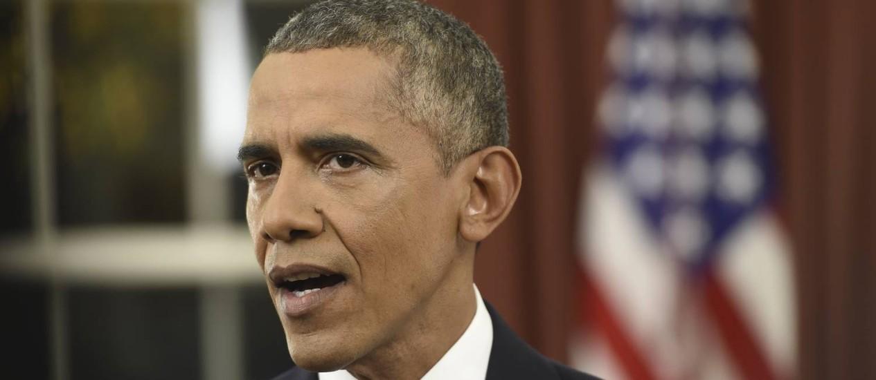 Barack Obama durante discurso sobre combate ao terrorismo no Salão Oval da Casa Branca Foto: POOL / REUTERS