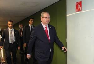 O presidente da Câmara, Eduardo Cunha, quando chegava ao Congresso Foto: Givaldo Barbosa / Agência O Globo