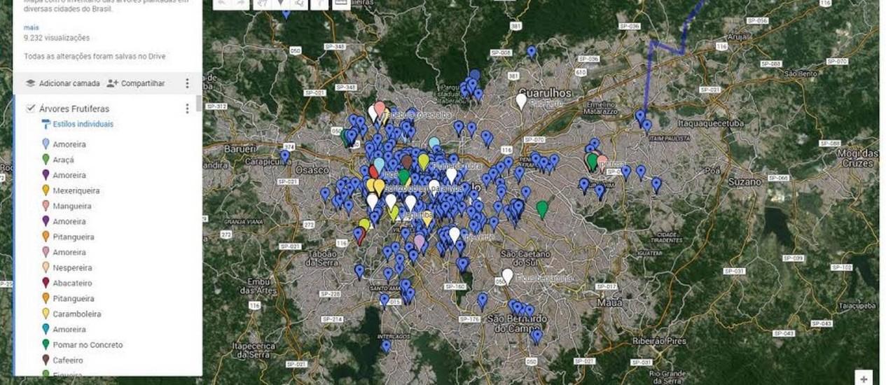 """""""Árvores urbanas"""" indica 300 locais em São Paulo onde é possível comer fruta no pé Foto: Reprodução/internet"""