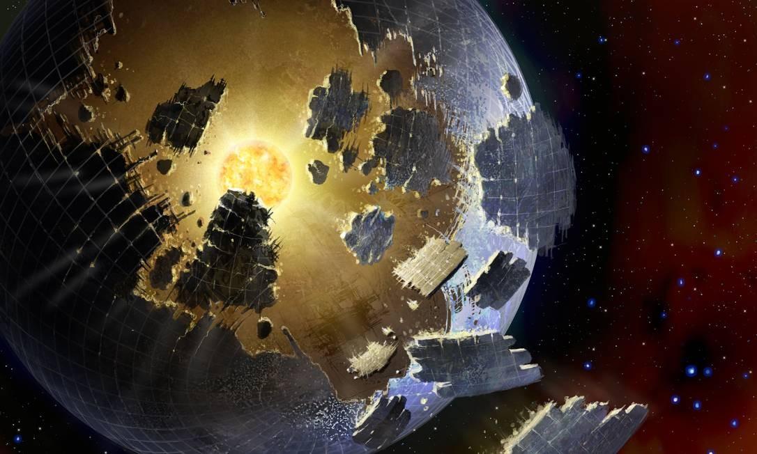 Ilustração de uma Esfera Dyson, tipo de megaestrutura capaz de coletar toda a energia gerada por uma estrela que poderia ser construída por uma civilização avançada Foto: Danielle Futselaar/SETI International