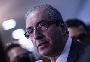 O presidente da Câmara, deputado Eduardo Cunha (PMDB-RJ), concede entrevista coletiva Foto: André Coelho / Agência O Globo