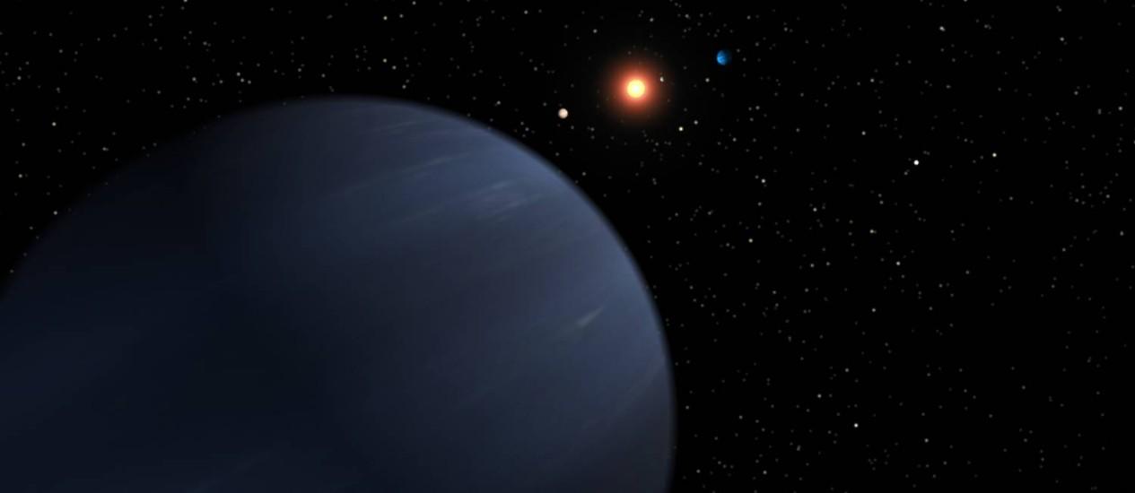 Ilustração mostra o sistema 55 Cancri, com o planeta mais afastado, 55 Cancri f, agora Harriot, um gigante gasoso, em primeiro plano e outro quatro mais próximos da estrela 55 Cancri, agora Copernicus, ao fundo, respectivamente Galileo, Brahe, Lippershey e Janssen Foto: Nasa/JPL-Caltech