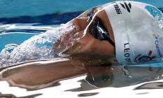 Leonardo de Deus em ação em Palhoça: índice olímpico nos 200m costas Foto: Divulgação CBDA