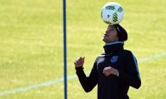 Neymar durante o treino do Barcelona em Yokohama Foto: TOSHIFUMI KITAMURA / AFP