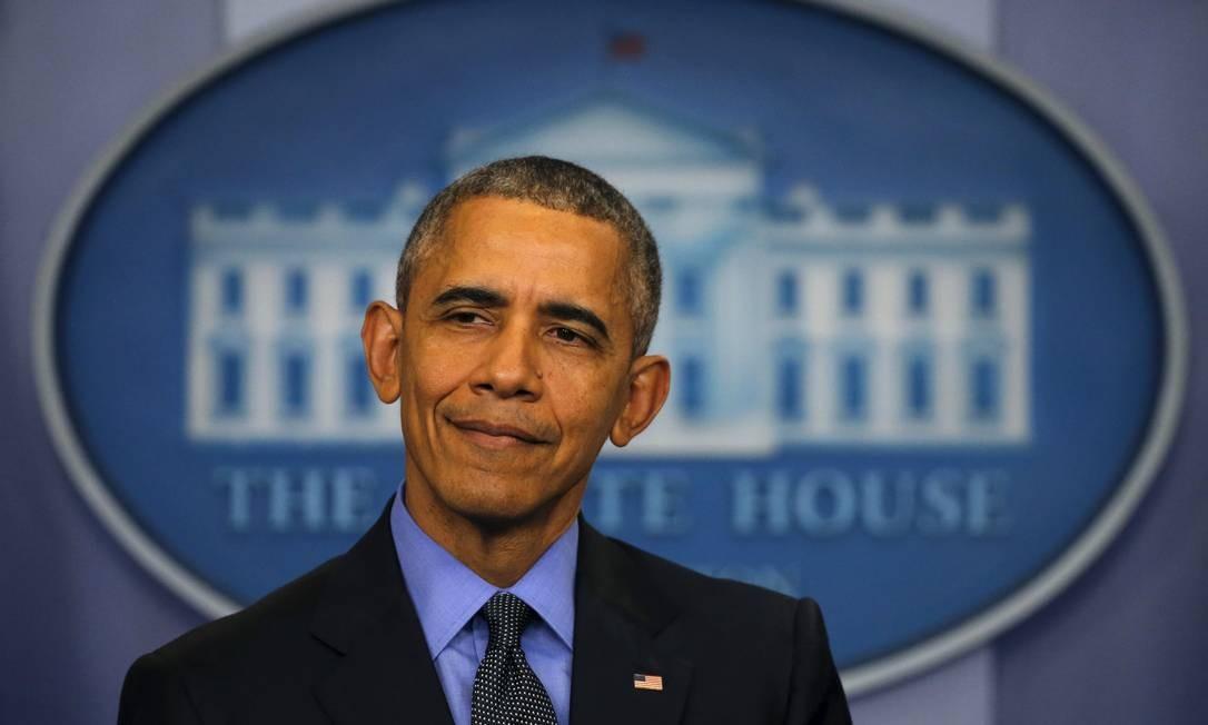 Obama mostrou bom humor e confiança ao fechar penúltimo ano na Presidência Foto: CARLOS BARRIA / REUTERS