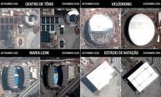 Em destaque, evoluções do velódromo, do Centro de Tênis, do Parque Maria Lenk e do Estádio Aquático, no Parque Olímpico da Barra Foto: Satélite Pleiades, com arte O GLOBO