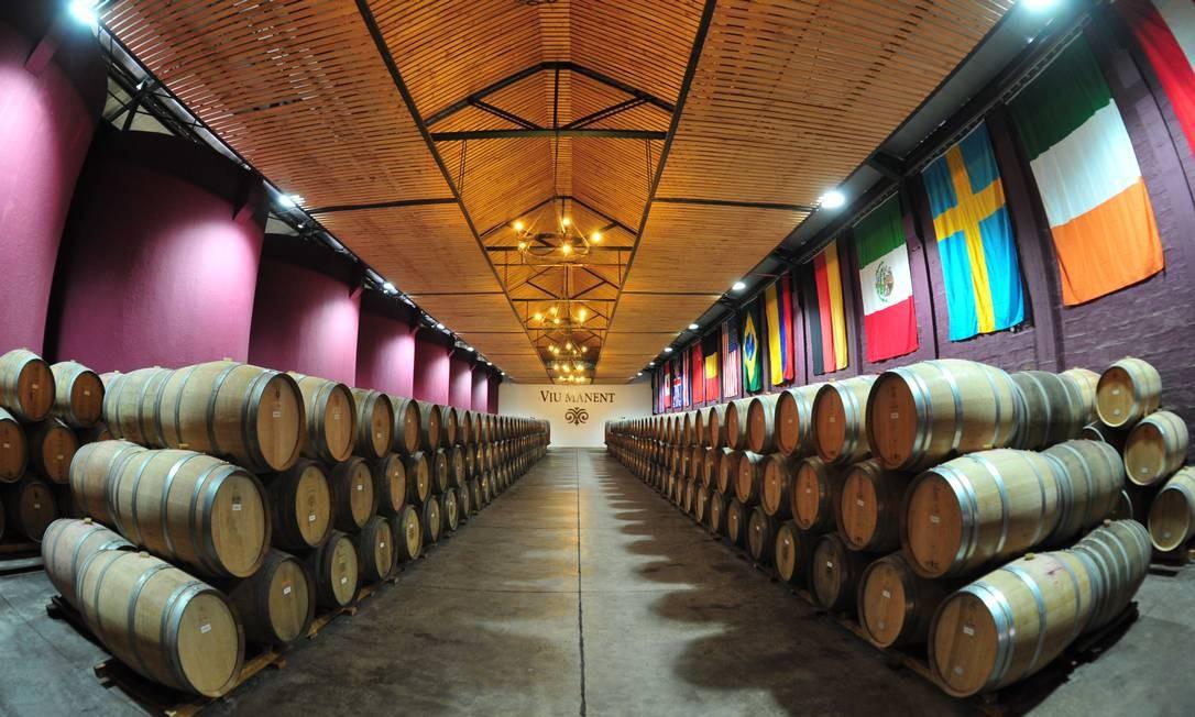 Sala de barricas da vinícola Viu Manent Foto: Jaime Bórquez / Divulgação