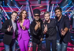 Thiago Laifer, Ivete Sangalo, Victor e Léo e Carlinhos Brown: time do 'The Voice Kids' Foto: Caiua Franco / Divulgação/TV Globo