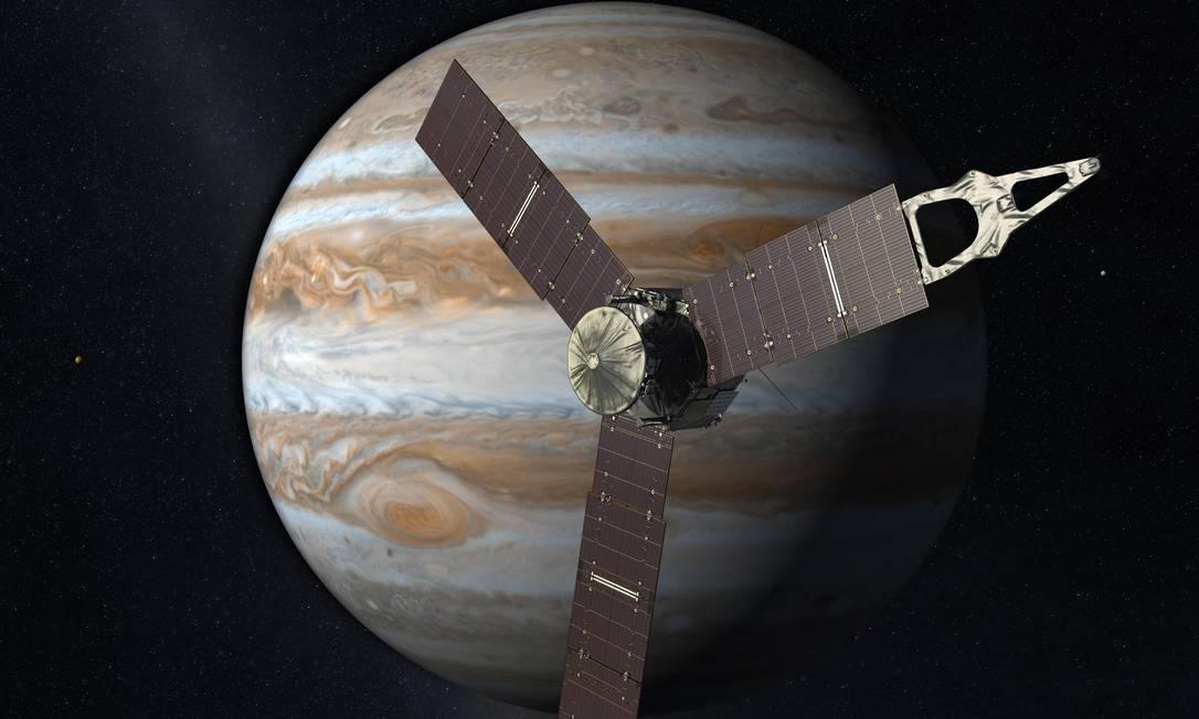 Ilustração mostra Juno na órbita de Júpiter, um dos destaques do ano Foto: / Nasa/ JPL