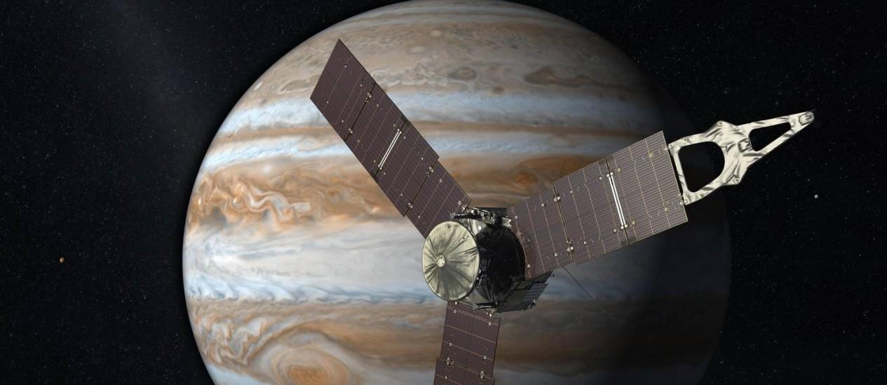 Ilustração mostra Juno na órbita de Júpiter, um dos destaques do ano Foto: Nasa/ JPL