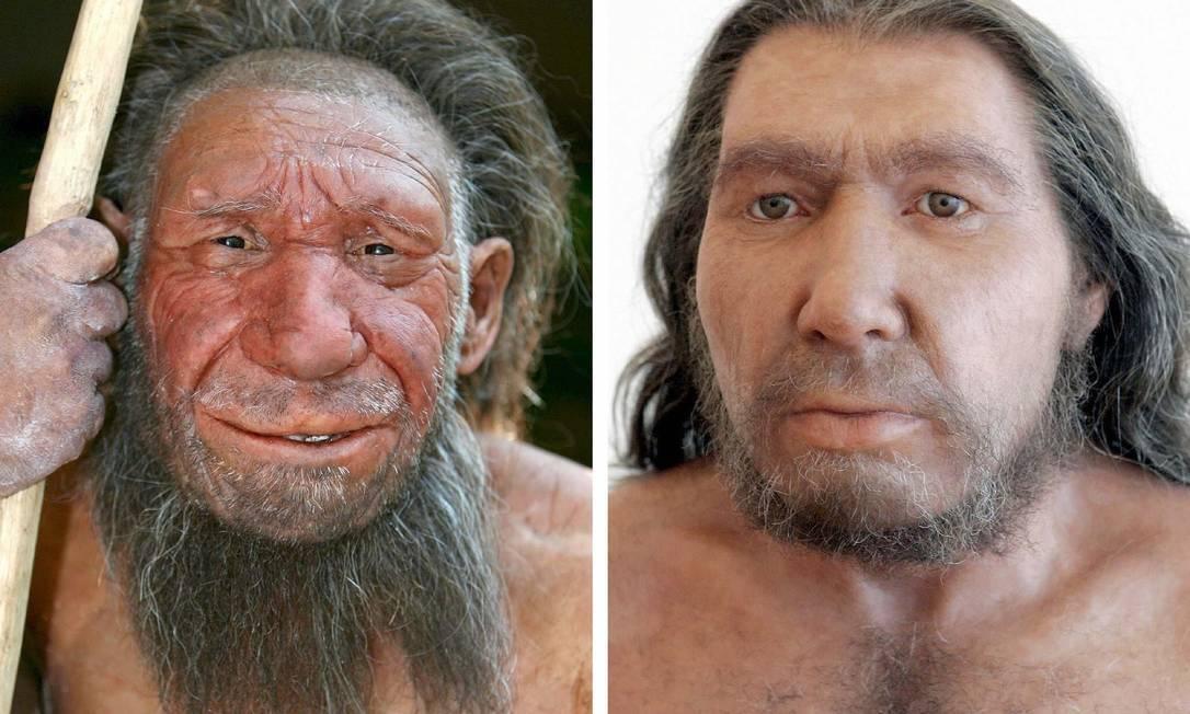 Reconstruções da aparência de dois indivíduos neandertais do Museu Neandertal de Mettmann, na Alemanha: miscigenação com humanos modernos deixou marcas em nosso genoma que influenciam funcionamento do sistema imune Foto: EFE/Scheidemann/Carstensen