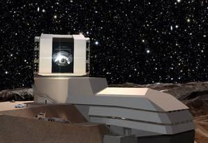 Ilustração mostra como será o telescópio LSST, em construção no topo de uma montanha no Chile Foto: Divulgação