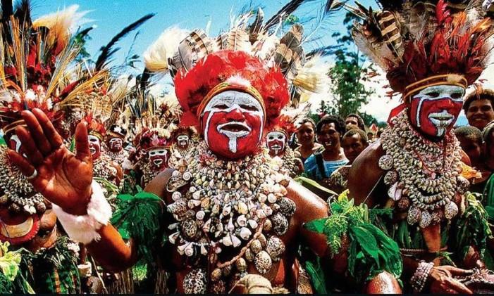 Festa tradicional em Papua-Nova Guiné Foto: PNG Travel / Reprodução / CNN