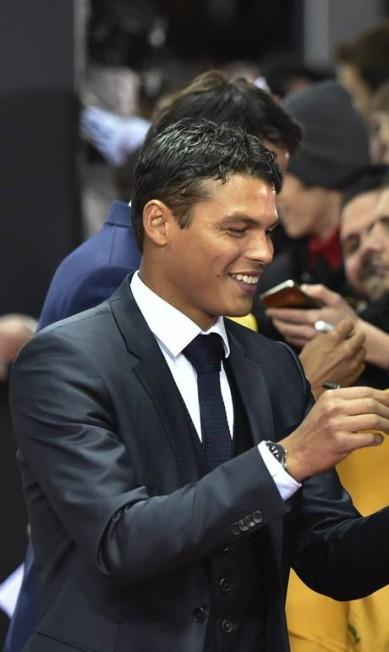 O brasileiro Thiago Silva, do Paris Saint-Germain, foi um dos mais discretos da noite MICHAEL BUHOLZER / AFP