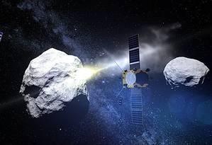 Nasa já realizou missão-teste de destruição de asteróides, em parceria com a agência europeia Foto: Divulgação