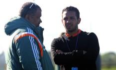 Wellington Nem, à direita, durante visita ao treino do Fluminense Foto: Divulgação