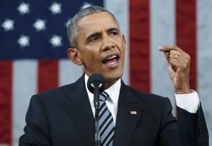 Barack Obama durante o discurso do Estado da União, em Washington Foto: POOL / REUTERS