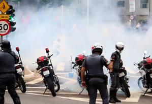 Policiais durante protesto na terça-feira Foto: Marcos Alves / Agência O Globo