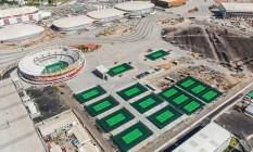 O Centro de Tênis que está sendo construído no Parque Olímpico. Prefeitura do Rio rompeu com o consórcio Foto: Prefeitura/Divulgação