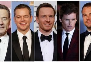 Bryan Cranston, Matt Damon, Michael Fassbender, Eddie Redmayne, and Leonardo DiCaprio na categoria melhor ator Foto: STAFF / REUTERS