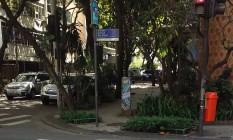 Moradores reclamam que jardineiras impedem a passagem de pedestres em rua no Leblon Foto: Eu-repórter / Foto do leitor Carlos Alberto Dias