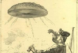 O momento em que Gulliver avista pela primeira vez a ilha Laputa Foto: Reprodução