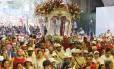 Fiéis durante a procissão de São Sebastião no ano passado