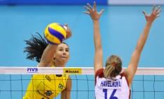 Os torcedores terão uma nova chance de ver a seleção feminina de vôlei de Sheilla nas Olimpíadas Foto: AFP/Kazuhiro NOGI