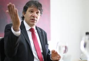 O prefeito de São Paulo Fernando Haddad Foto: Marcos Alves / Arquivo O Globo