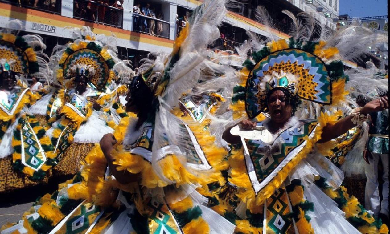 No enredo em defesa do índio, as baianas trocaram o turbante por um cocar estilizado Foto: Luiz Pinto / Agência O Globo