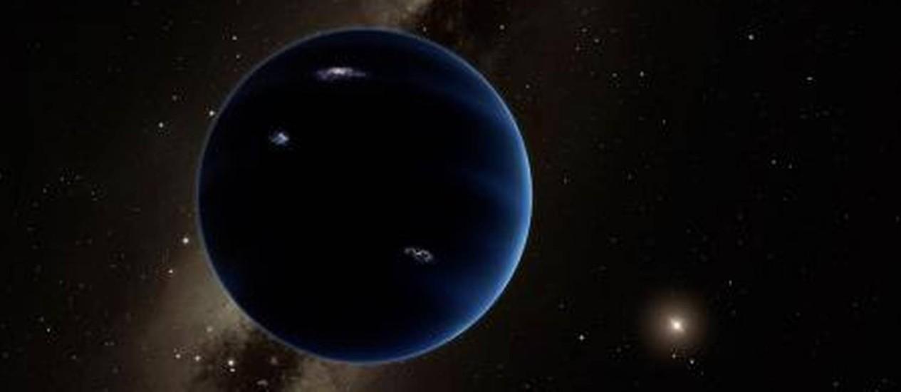 Ilustração mostra como seria o nono planeta do Sistema Solar, com uma massa dez vezes a da Terra Foto: Divulgação/Caltech/R. Hurt