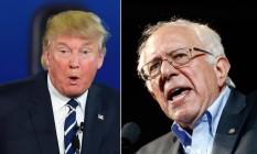 Os candidatos Donald Trump (à esquerda na imagem) e Bernie Sanders (à dir.) se enfrentam na corrida presidencial americana Foto: Arte sobre Divulgação