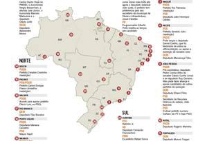 Mapa mostra as candidaturas dos partidos de oposição nas capitais brasileiras Foto: Editoria de Arte