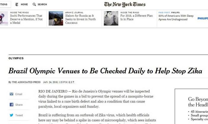 The New York Times fala do vírus do Zika Foto: Reprodução
