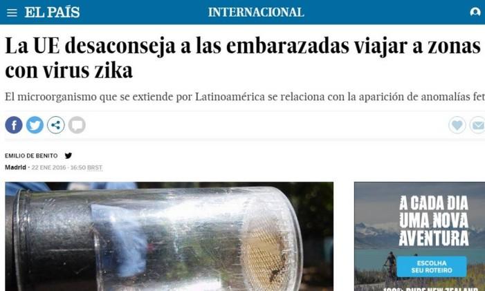 Reportagem do El País sobre o vírus do Zika Foto: Reprodução