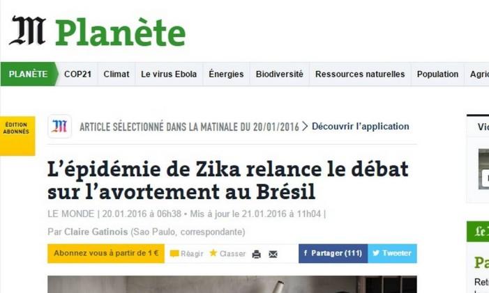 Le Monde fala sobre o debate sobre aborto após o surto do Zika no Brasil Foto: Reprodução