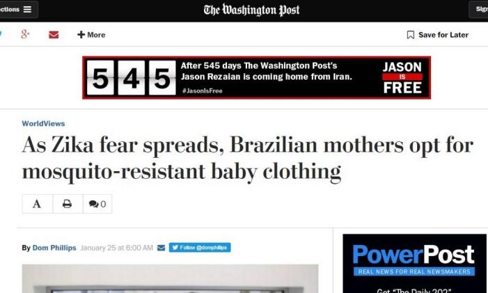 Reportagem sobre a procura de roupas para bebês resistentes ao Aedes aegypti Foto: Reprodução