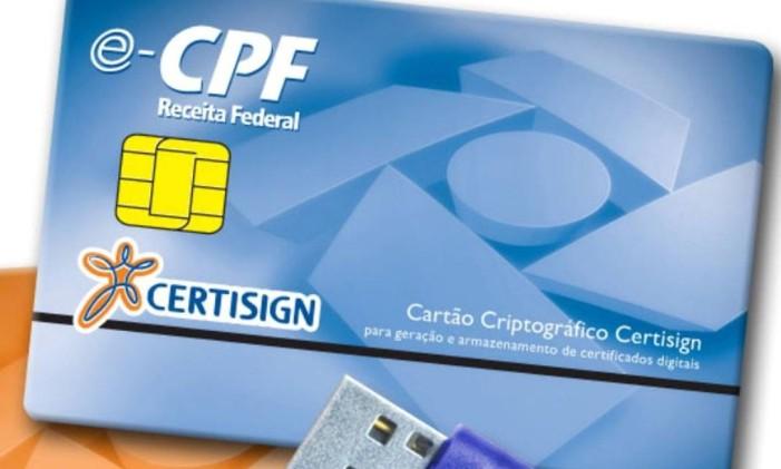 Certificações digitais para pessoas física e jurídica ( CPF, e CNPJ ) da Certisign, token e smartcard. Foto divulgação/Agência O GLOBO Foto: Agência O Globo