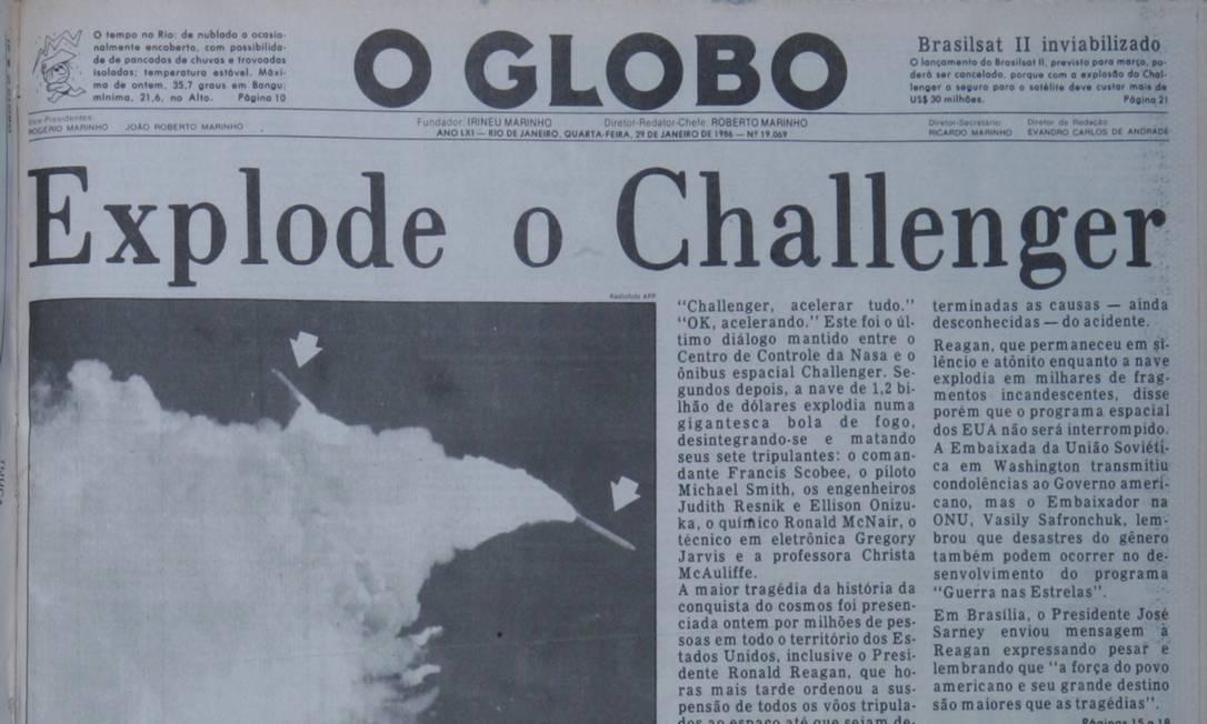 A explosão da Challeger causou comoção internacional. Foram as sete primeiras mortes registradas desde o início do programa de ônibus espaciais americanos. A Nasa demorou dois anos para retomar suas missões com naves. Acervo O GLOBO