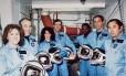 Os sete astronautas mortos na explosão do ônibus espacial Challenger