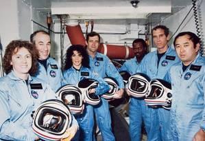 Os sete astronautas mortos na explosão do ônibus espacial Challenger Foto: Divulgação/Nasa