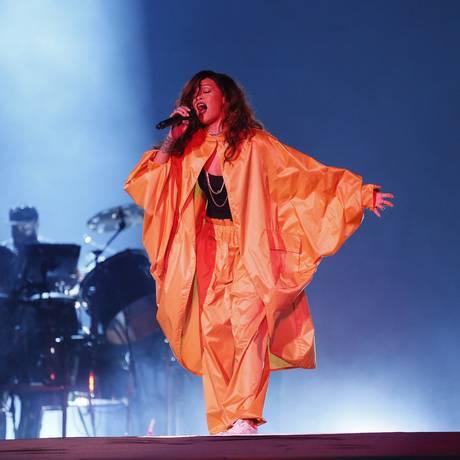 Rihanna, em show no Palco Mundo do Rock in Rio, em setembro de 2015 Foto: Pablo Jacob / Agência O Globo