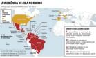 Países que já registraram casos de zika Foto: O Globo