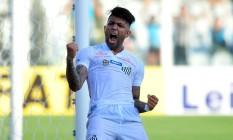 Gabriel comemora o gol de empate do Santos Foto: Divulgação