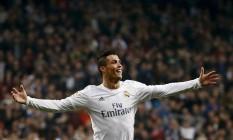 Cristiano Ronaldo comemora seu segundo gol neste domingo Foto: JUAN MEDINA / REUTERS