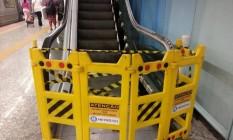Escada rolante da estação do metrô General Osório quebrada Foto: Foto da leitora Maria Cristina Bueno / Eu-Repórter