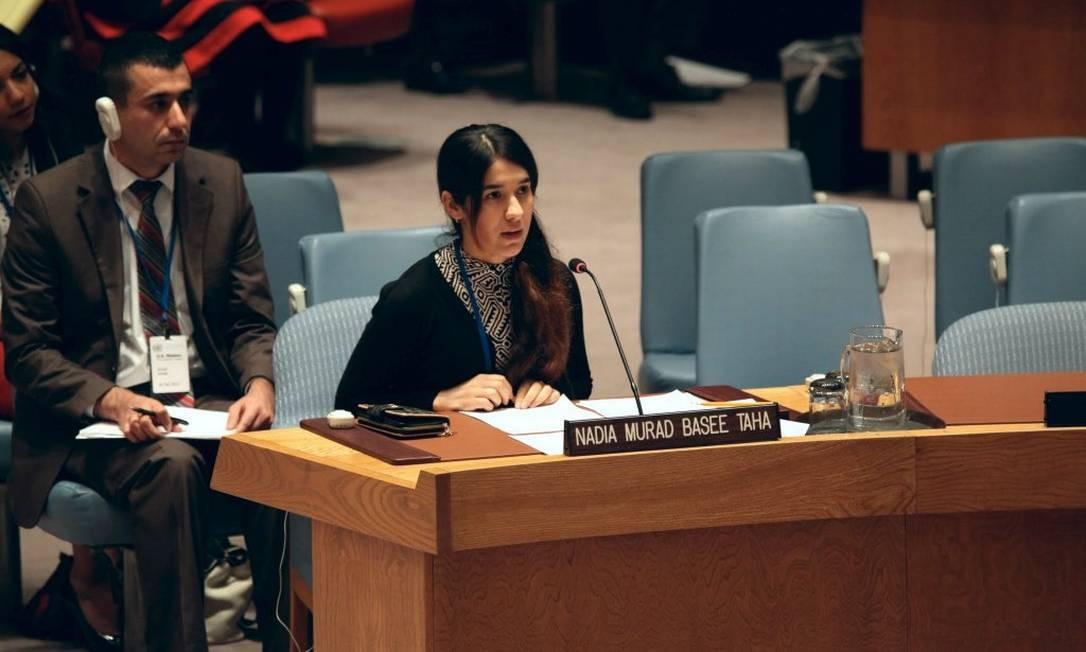 Nadia Murad faz discurso na sede das Nações Unidas, em Nova York Foto: Twitter / Reprodução